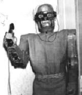A photograph of a robot answering the phone